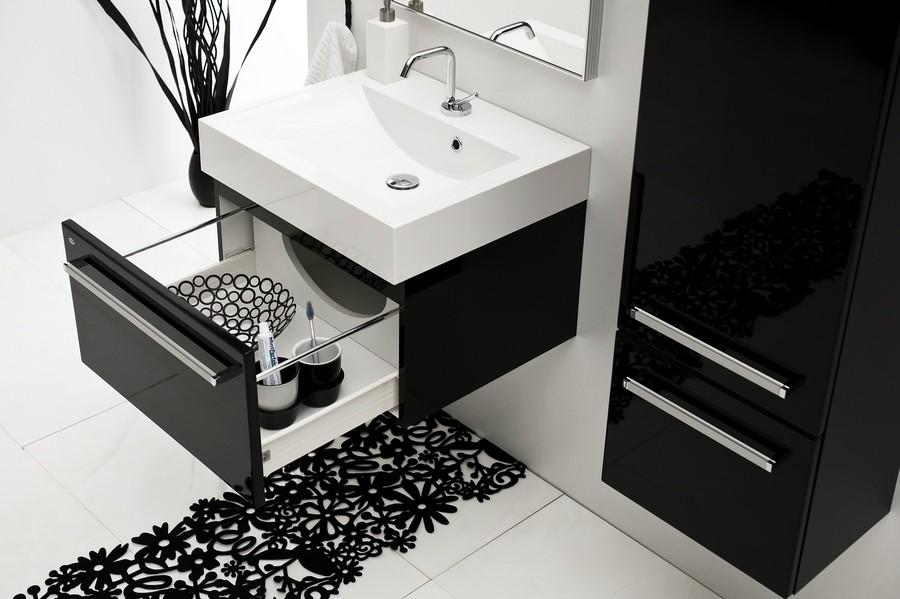 Bagno sospeso real 6 colori mobile design moderno - Mobile bagno nero lucido ...
