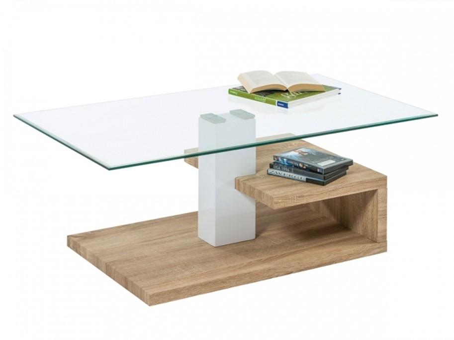 Tavolino salotto moderno faik rovere chiaro piano vetro 110x60 ...