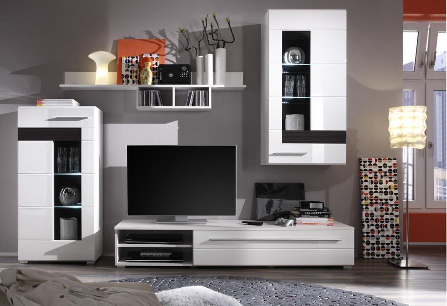Composizione soggiorno moderno end mobile porta tv parete di design con led - Mobile vetrina moderno ...