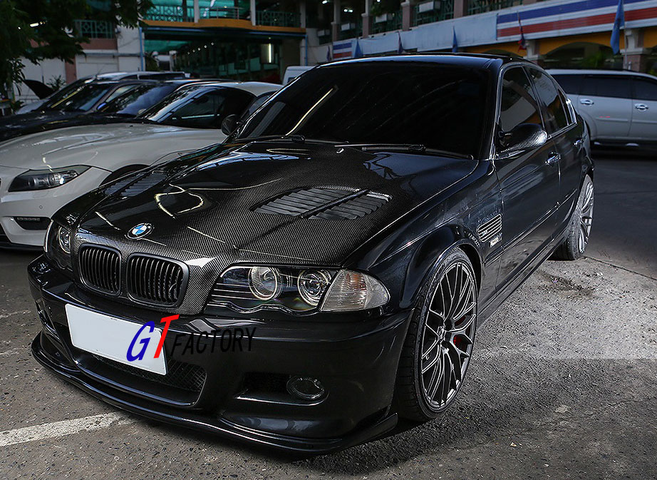 new for bmw e46 m3 only carbon fiber front lip spoiler hm style ebay. Black Bedroom Furniture Sets. Home Design Ideas