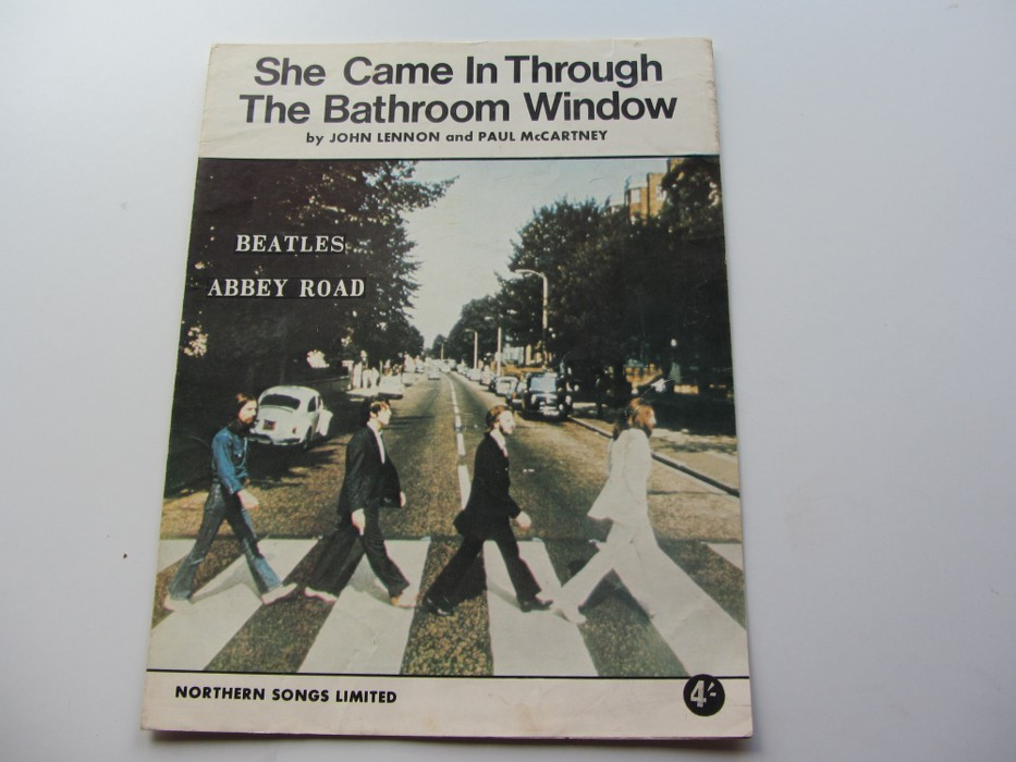THE BEATLES 1969 SHEET MUSIC SHE CAME IN THROUGH THE