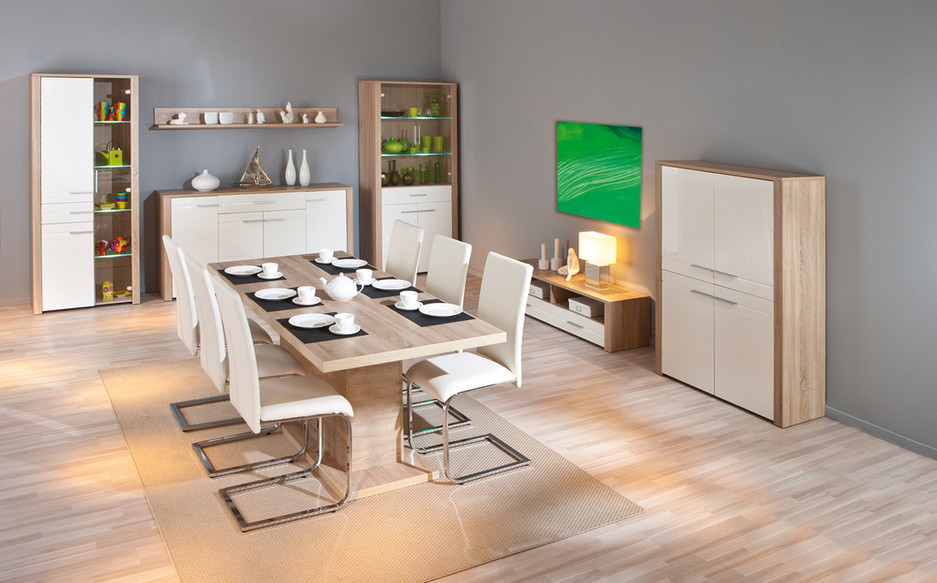 Porta tv Carlo 23, mobile tv moderno, soggiorno bianco e rovere design