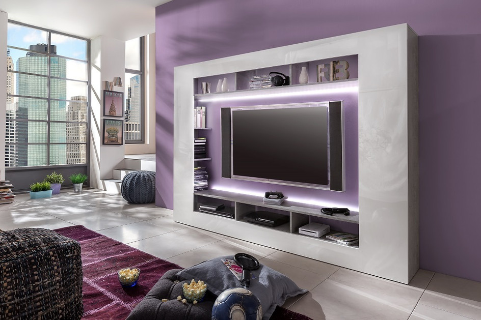 Parete porta tv moderna dos, mobile soggiorno grigio e bianco ...