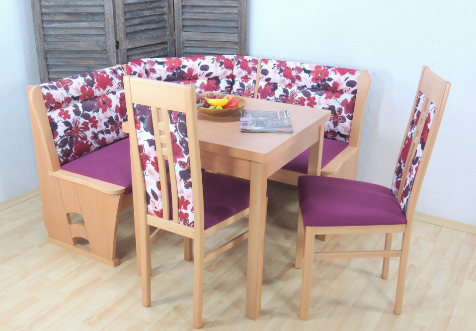 Eckbankgruppe violett Eckbank Truheneckbank Tisch Stühle massiv lila ...