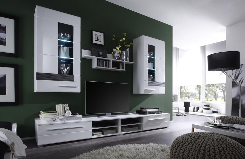 Composizione soggiorno moderno end mobile porta tv parete di design con led ebay - Mobile vetrina moderno ...