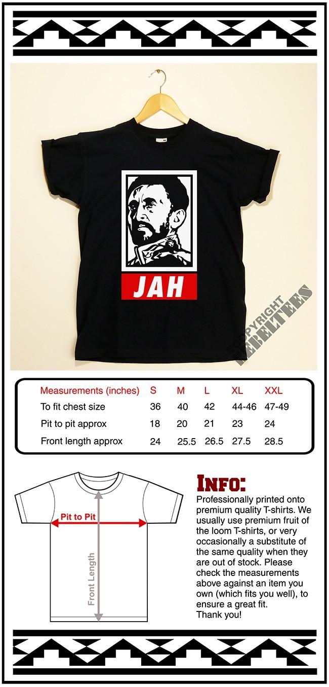 Jah Rastafari T-SHIRT Haile Selassie retro Jamaica Reggae Ska dub rasta wear