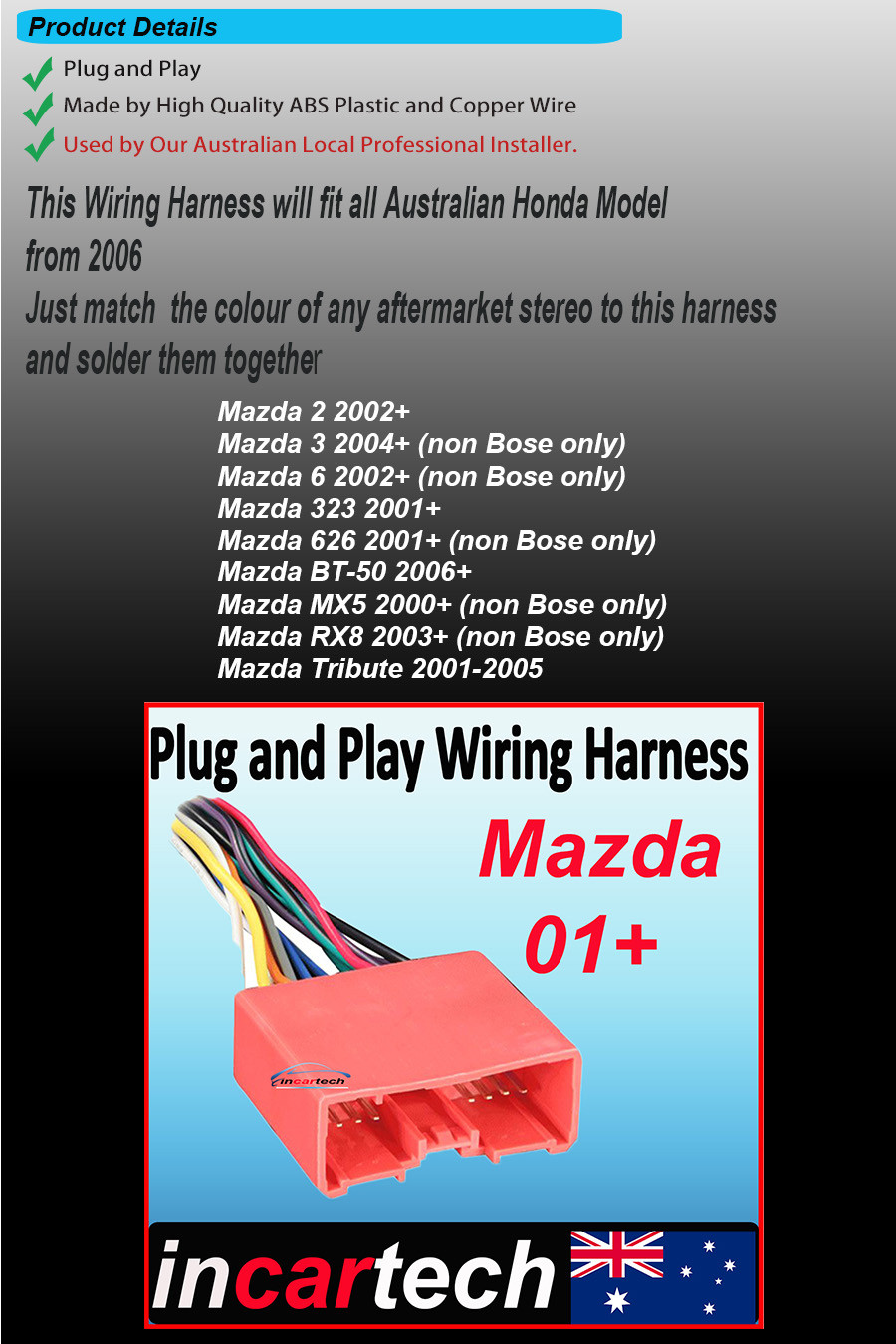 Aftermarket Radio Wire Harness Stereo Connect Wiring Fit Mazda 2 3 6 Rx8 On 20 Oct 15 At 000331 Aedst Seller Added The Following Information