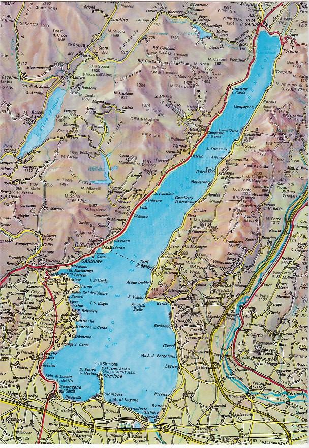 Verona Sulla Cartina Geografica.Lago Di Garda Verona Cartina Geografica 74575 Ebay