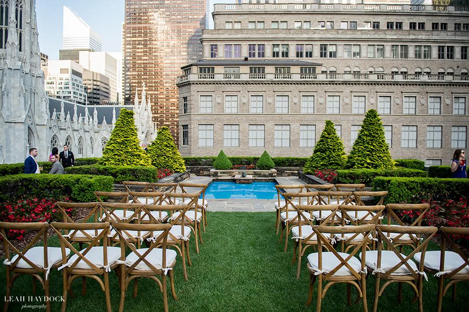Beautiful Outdoor Wedding Ceremony At Tribeca Rooftop: 620 Loft & Gardens At Rockefeller Center Wedding, NYC