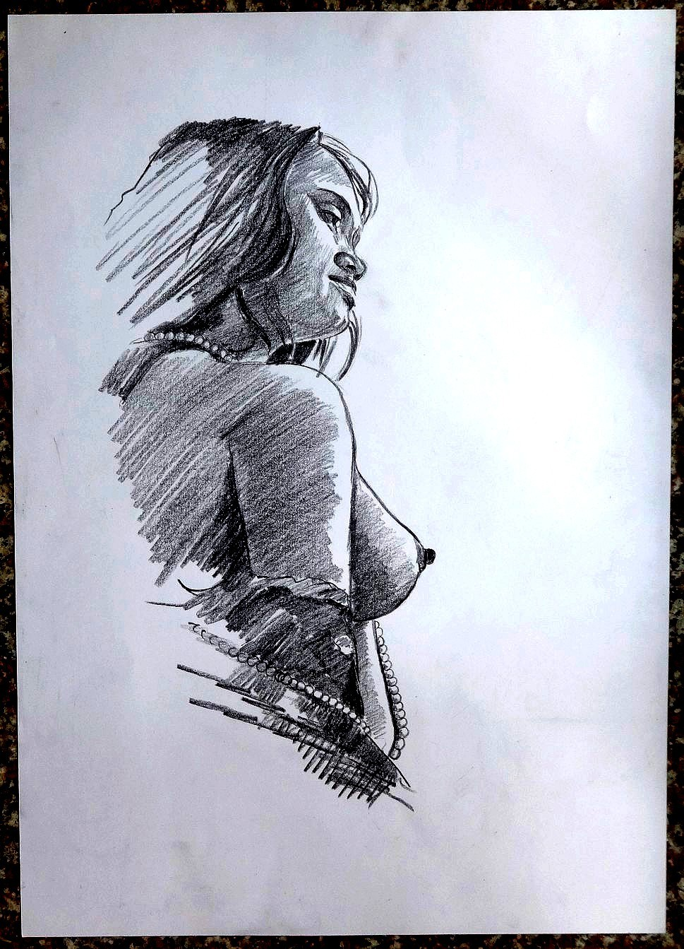 Details about indian nude beauty pencil drawing on card 11 x 16 5