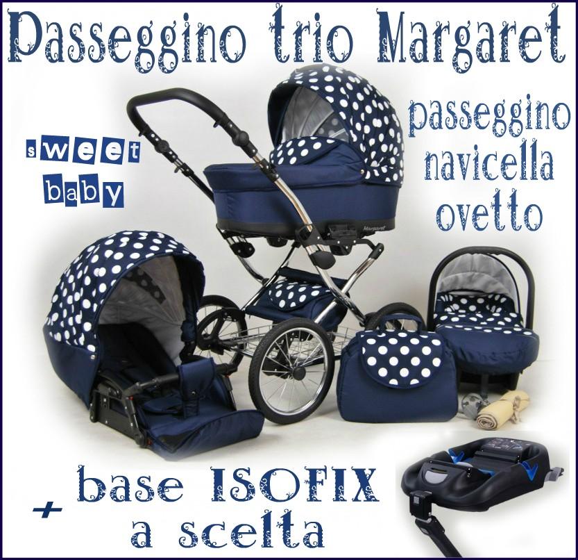 """Passeggino trio /""""MARGARET/"""" 3in1 ovetto navicella passeggino+base ISOFIX a scelta"""