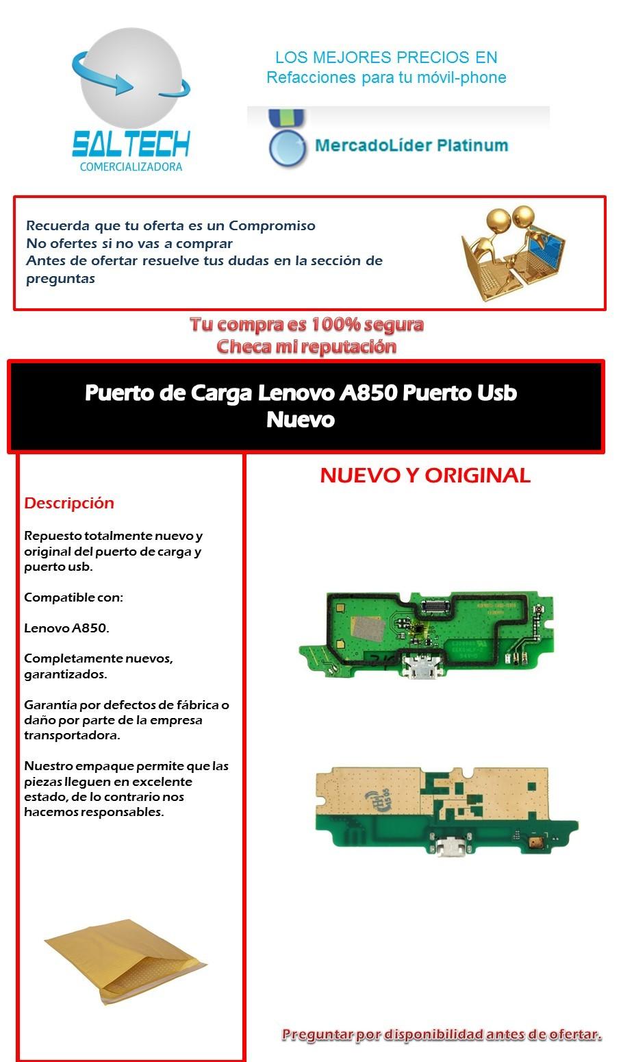 Flex Puerto De Carga Usb Lenovo A850 Nuevo
