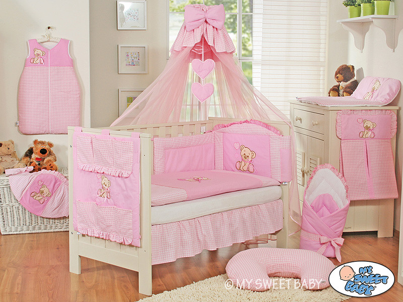 maravillosa cuna set cordinado para tu bebe con oso en varios colores ebay. Black Bedroom Furniture Sets. Home Design Ideas