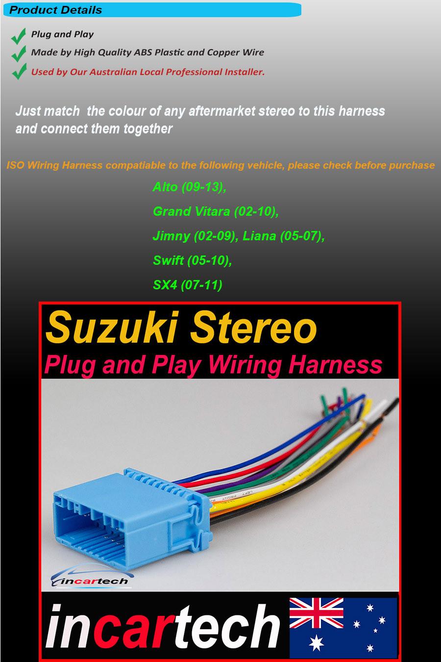 Suzuki Swift Vitara Sx4 Alto Jimny Stereo Radio Iso Wiring Loom Harness On 30 Nov 16 At 145014 Aedst Seller Added The Following Information