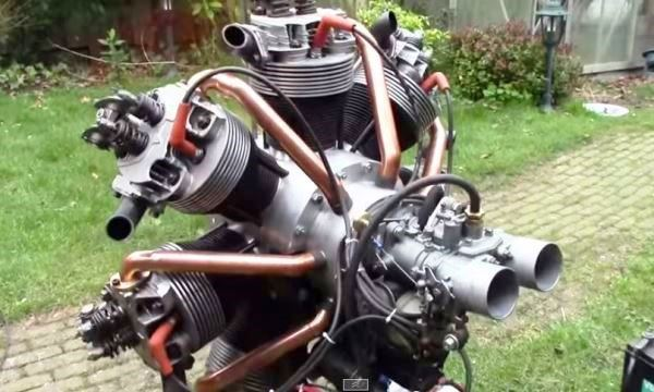7-cylinder radial engine built from air-cooled VW parts - The