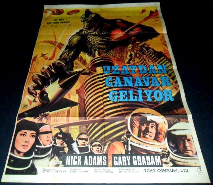 Vintage Sci Fi Horror Movie Poster Godzilla 1965 Invasion: 1965 Invasion Of Astro-Monster ORIGINAL TURKISH POSTER