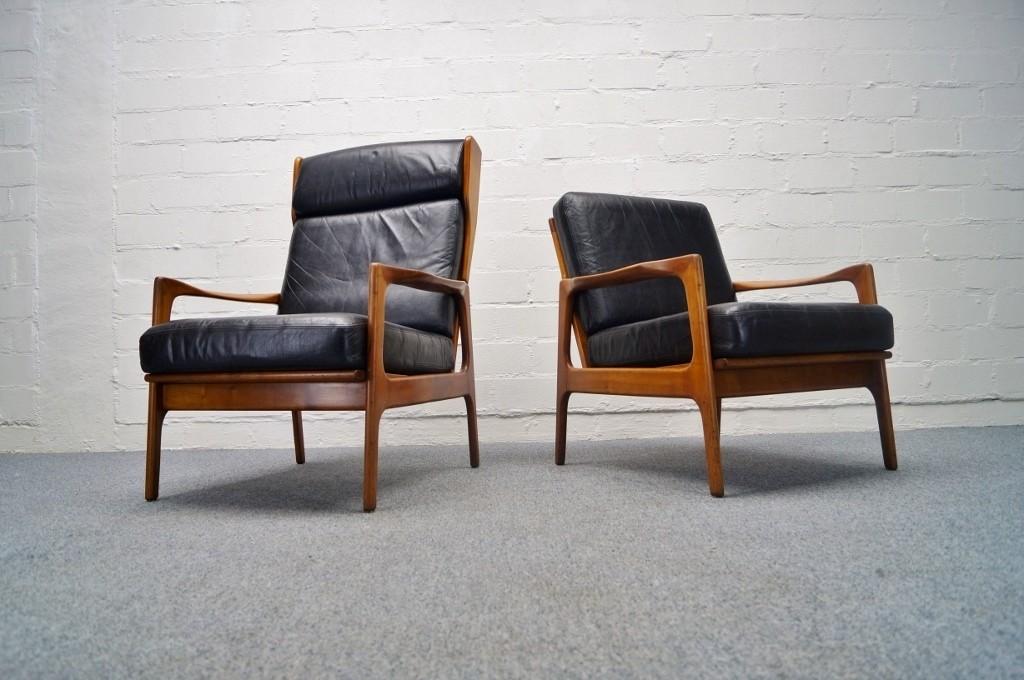2x elegante holz leder sessel skandinavien rosewood highback 60er 70er ebay. Black Bedroom Furniture Sets. Home Design Ideas