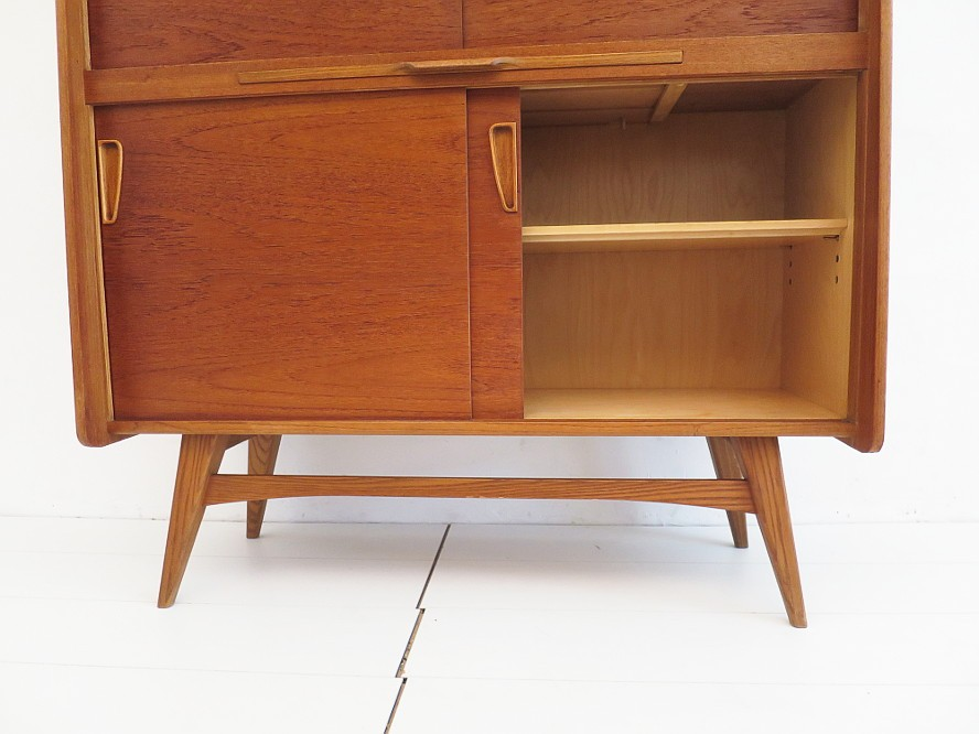 teak highboard ebw behr m bel 50er 60er jahre mid century danish style ebay. Black Bedroom Furniture Sets. Home Design Ideas