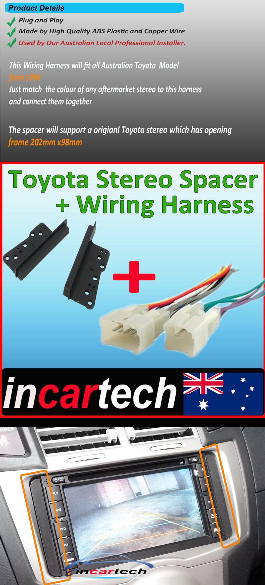 Toyota Car Double Din Side Trim Stereo Radio Wiring Harness Auto Connector For Buy Categories