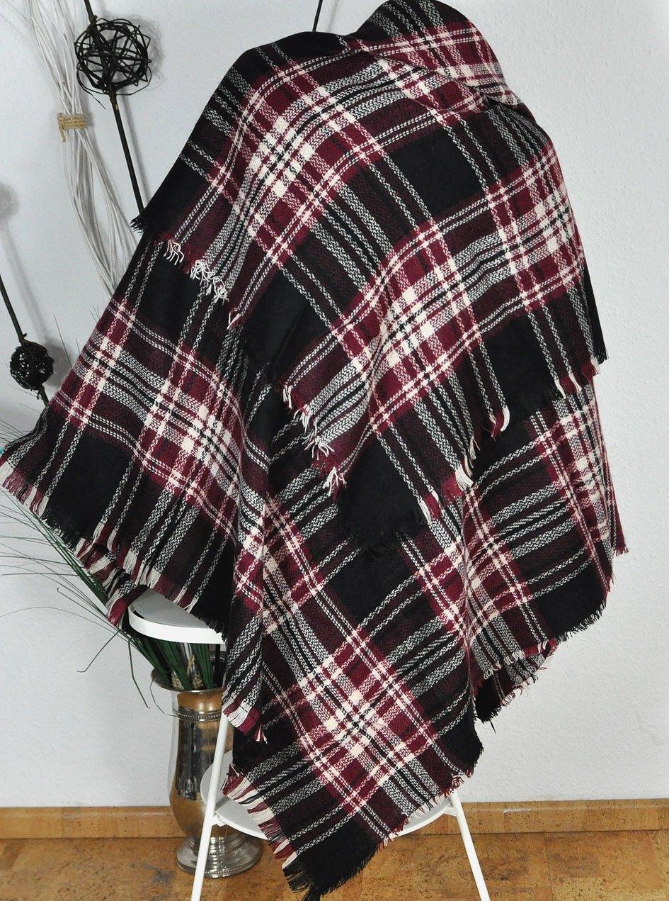 neu xxxl scarf schal karo plaid tartan schotten muster kariert schw rot 140 x140 ebay. Black Bedroom Furniture Sets. Home Design Ideas