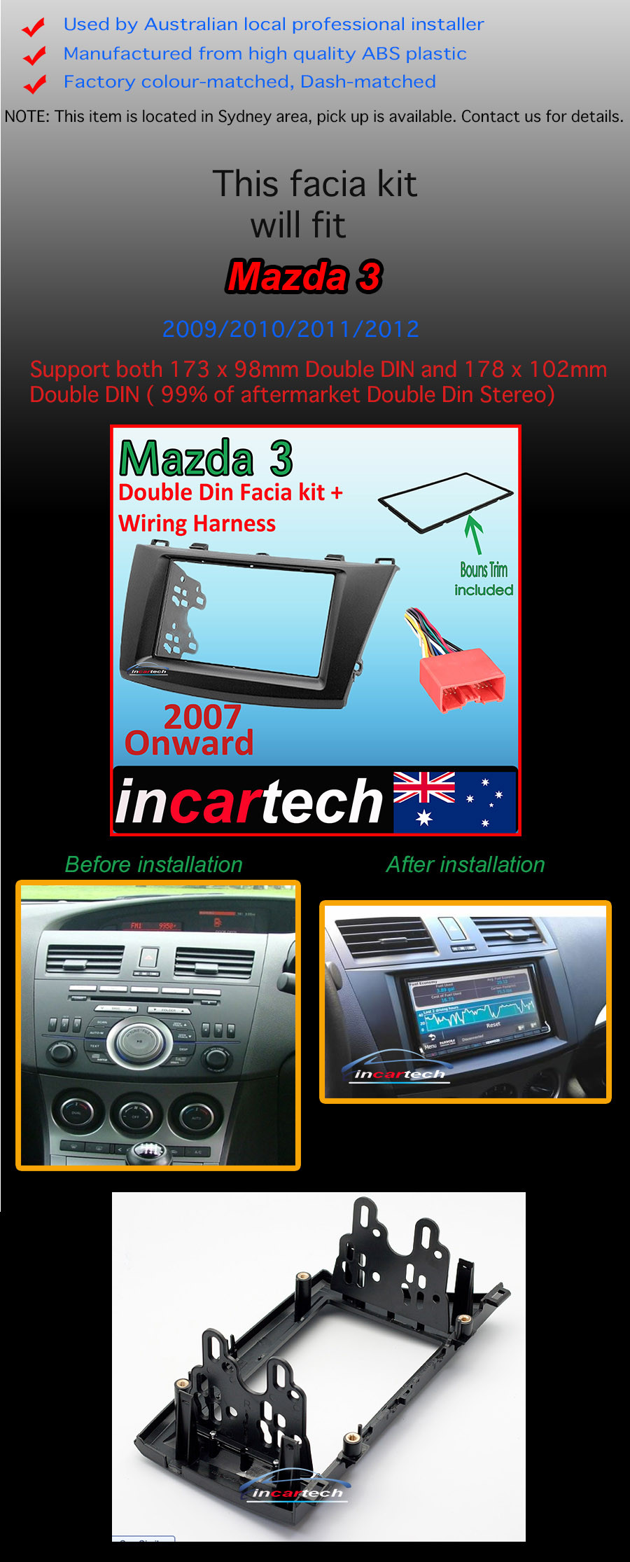 Mazda 3 Bk 2009 Up Facia Kit Fascia Panel Dash Trim Double Din Wiring Harness Categories