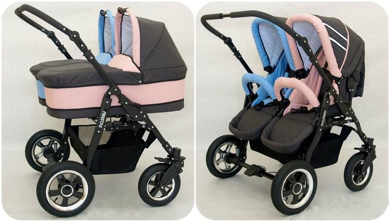 Passeggino gemellare freestyle TRIO navicelle ovetti bicolor grigio+rosa//azzurro