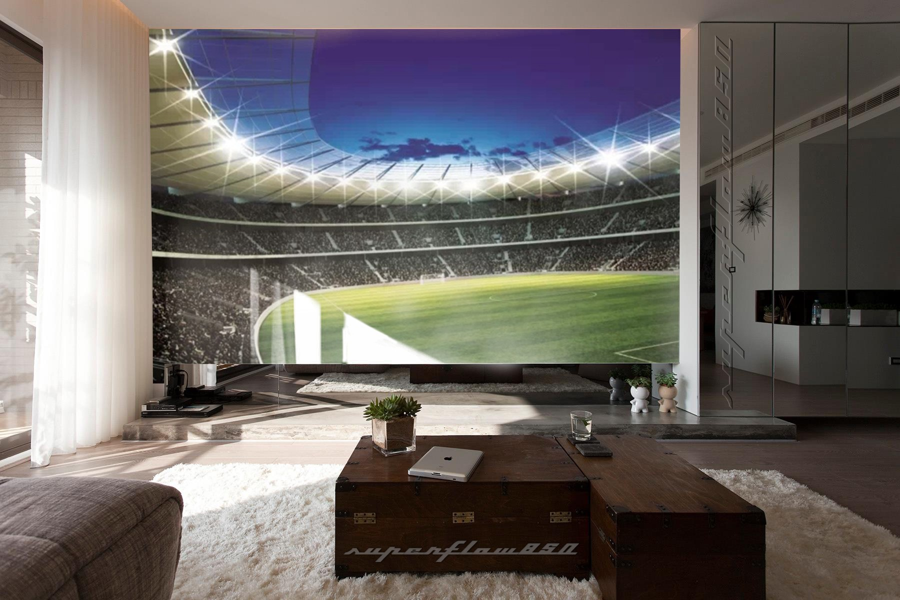 Football Stadium 2 Wallpaper Mural: Football Stadium Photo Wallpaper Wall Mural 323 P4