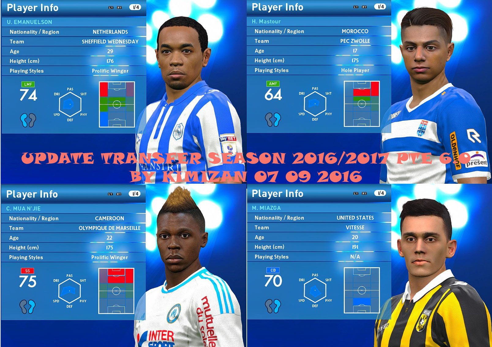 Update Transfer Season 2016-17 PES 2016 PTE Patch 6 0