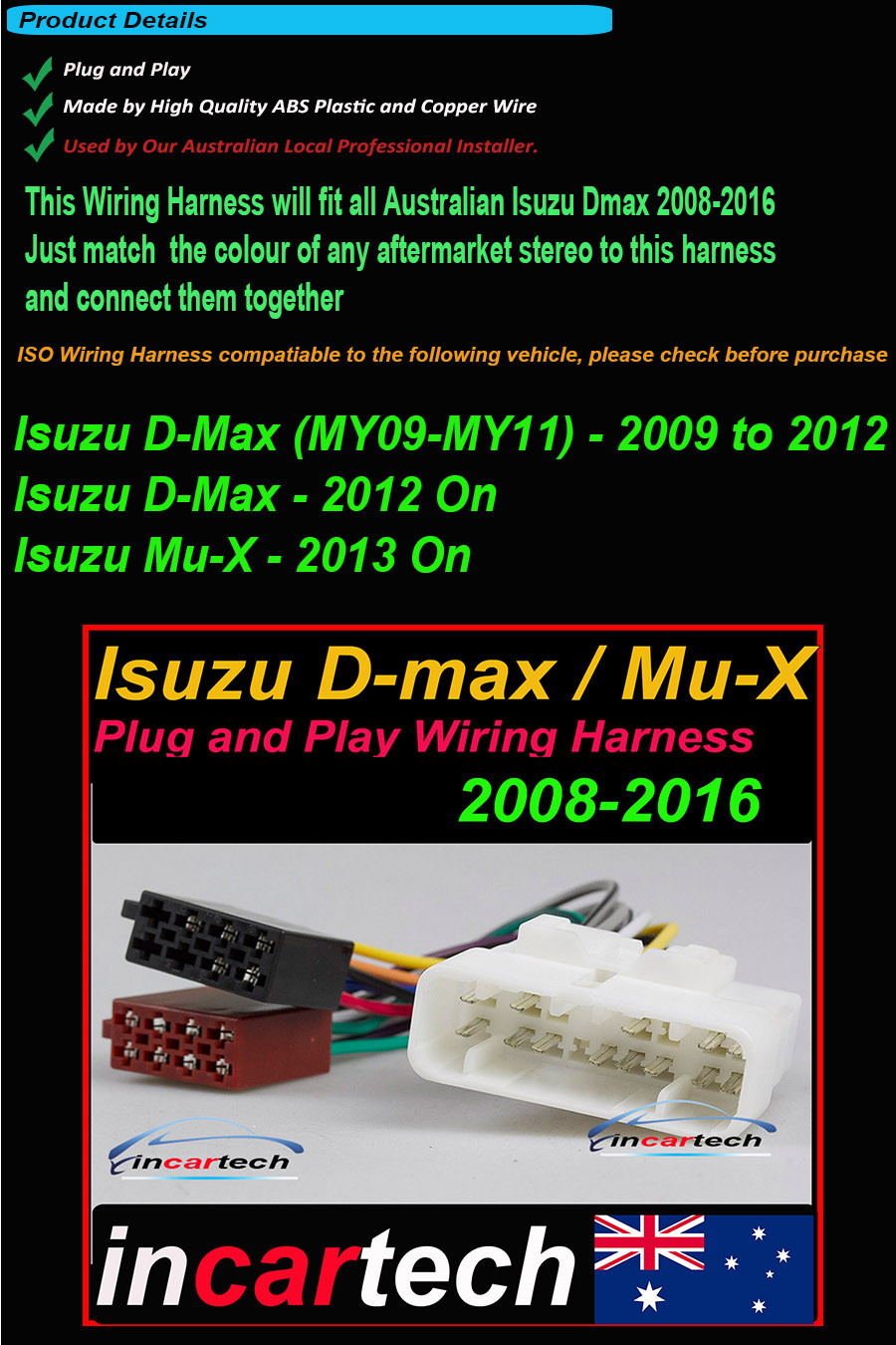 Isuzu D Max Iso Wiring Harness Adaptor Plug Wire Lead Aftermarket Radio Connector On 27 Jan 16 At 155734 Aedst Seller Added The Following Information