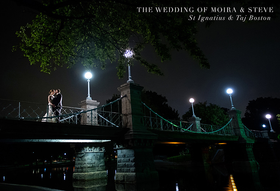 Nighttime wedding pictures at Taj Boston, bride and groom on the bridge over the swan boats
