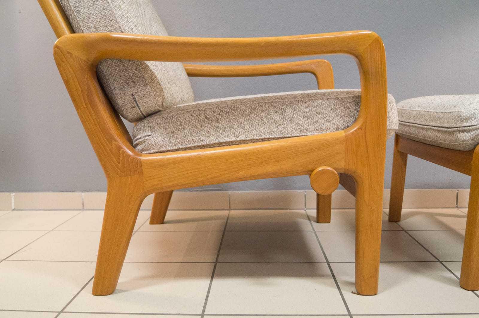 verstellbarer juul kristensen hochlehn sessel mit hocker hochlehner teak vintage ebay. Black Bedroom Furniture Sets. Home Design Ideas
