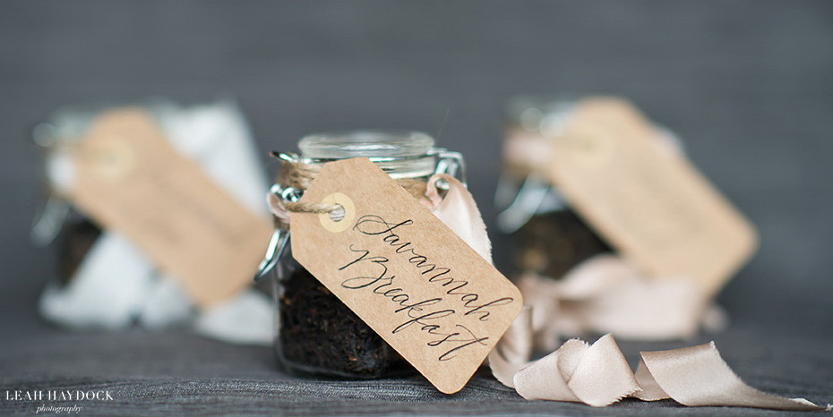 Wedding favor of loose leaf tea from Savannah
