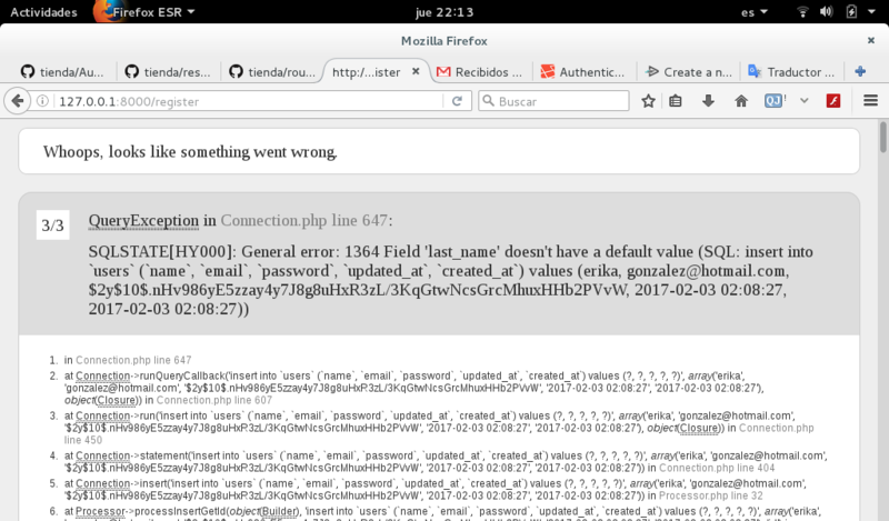 SQLSTATE[HY000]: General error: 1364 Field 'last_name' doesn