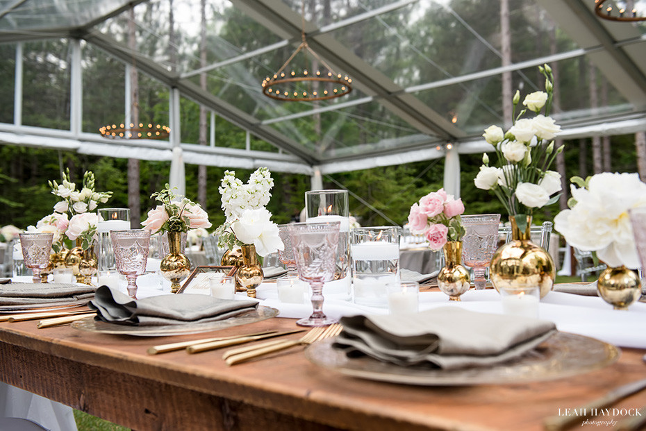Glass tent in Maine forest wedding