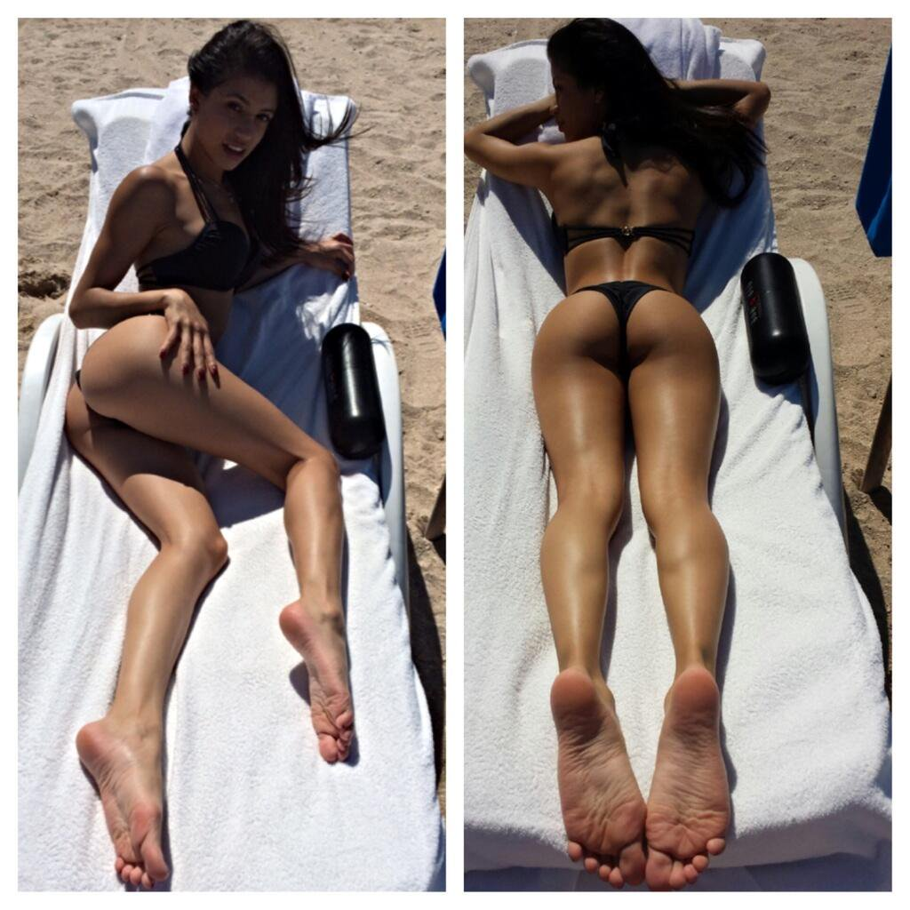 Nude girl playing on the beach