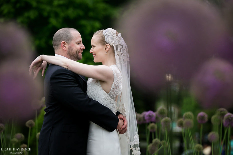 Wedding pictures in the Boston Public Gardens with purple alliums