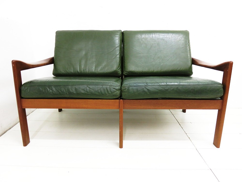 teak zweisitzer design illum wikkels f r eilersen ebay. Black Bedroom Furniture Sets. Home Design Ideas