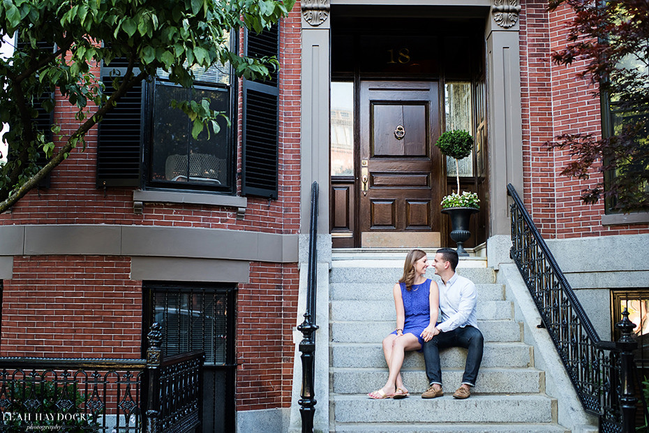 South End Boston Engagement Pictures, couple sitting on steps
