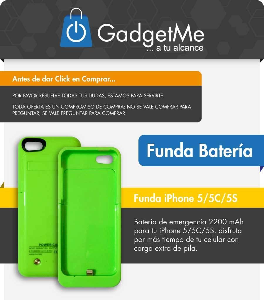 0a8b59b7094 Cargador Funda Batería Externa Iphone 5 5c 5s, 2200mah | GadgetMe