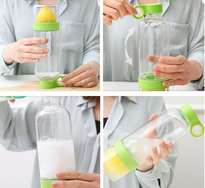 Sport Vigor Citrus Lime Lemon Sprayer Cup Fruit Press Juicer Water Tea Bottle