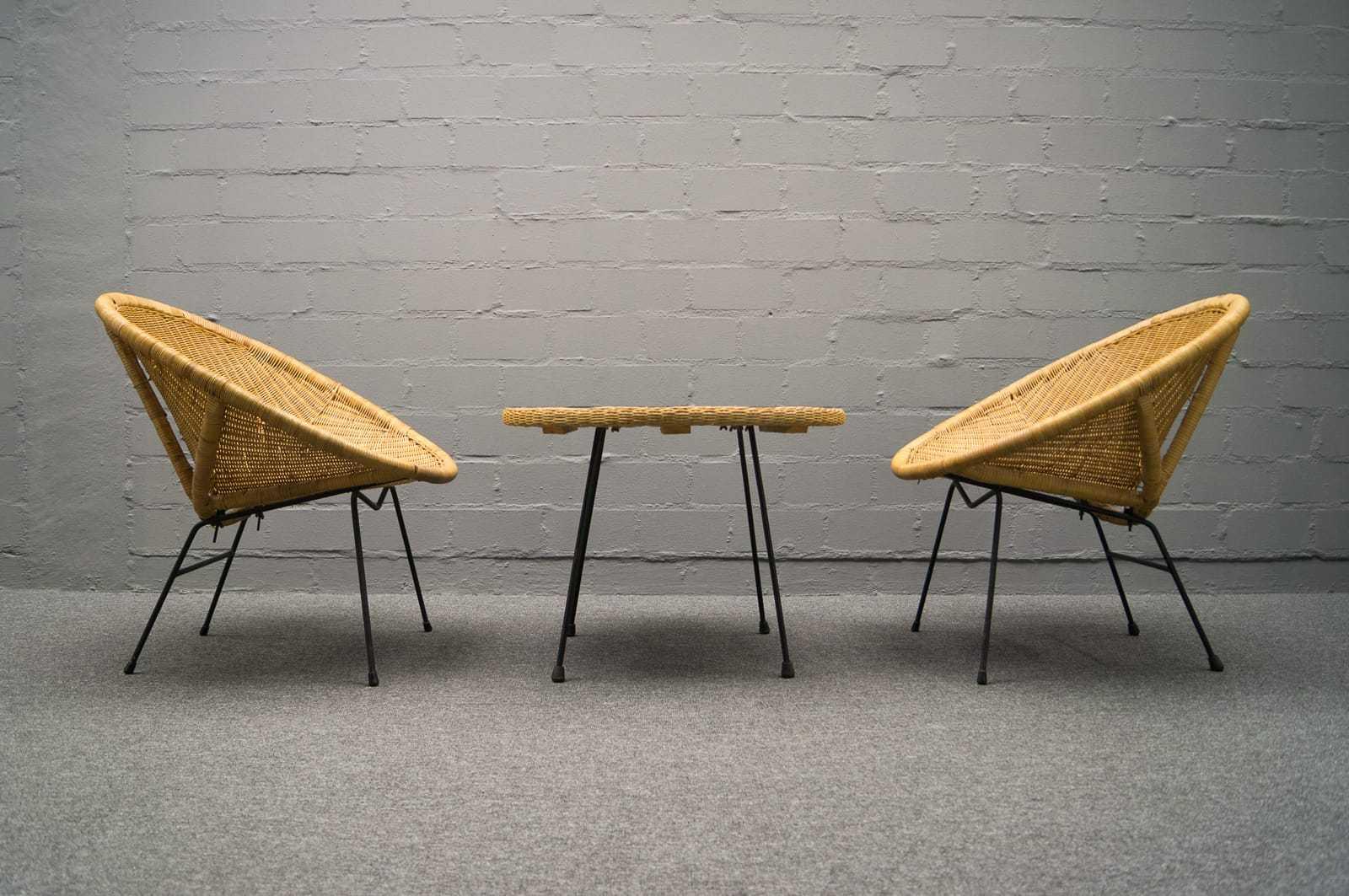 50er jahre sitzgarnitur 2x sessel mit beistelltisch. Black Bedroom Furniture Sets. Home Design Ideas
