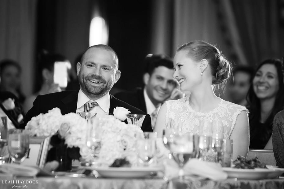 Wedding Reception in the Grand Ballroom of Taj Boston, couple during wedding toasts