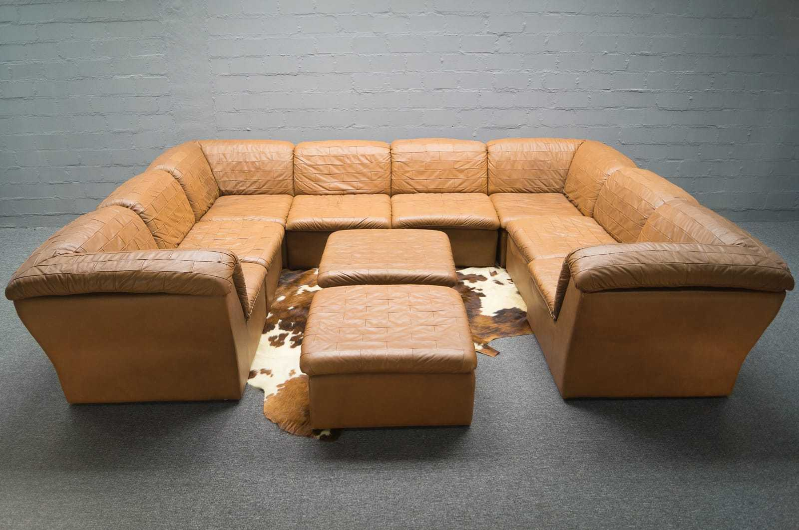 xxl sofalandschaft im leder patchwork 60er 70er sofagarnitur sofa lounge ebay. Black Bedroom Furniture Sets. Home Design Ideas