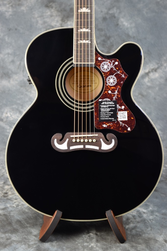 epiphone ej200sce j200 style acoustic electric guitar with case black jumbo. Black Bedroom Furniture Sets. Home Design Ideas
